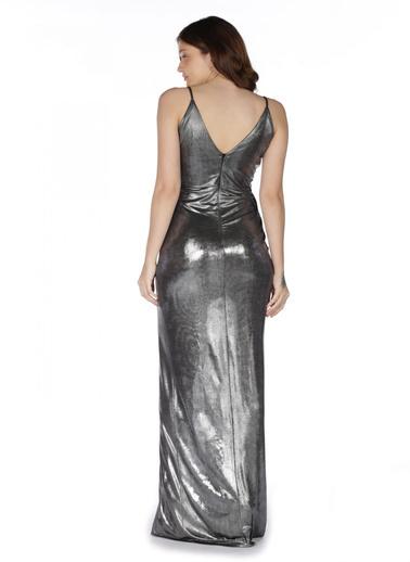 Pierre Cardin Askılı Anvelop Uzun Abiye Elbise Gümüş